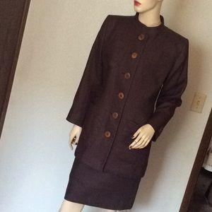 Yves Saint Laurent purple linen skirt suit 38
